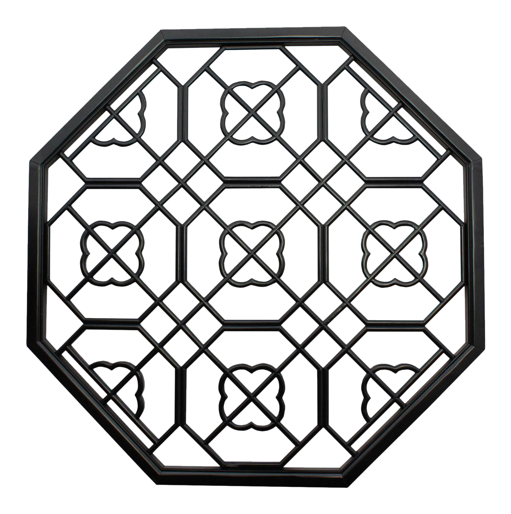 Shades drawing geometric. Chinese black lacquer octagon