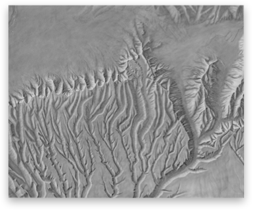 Shades drawing landscape. Shaded relief archive mesa