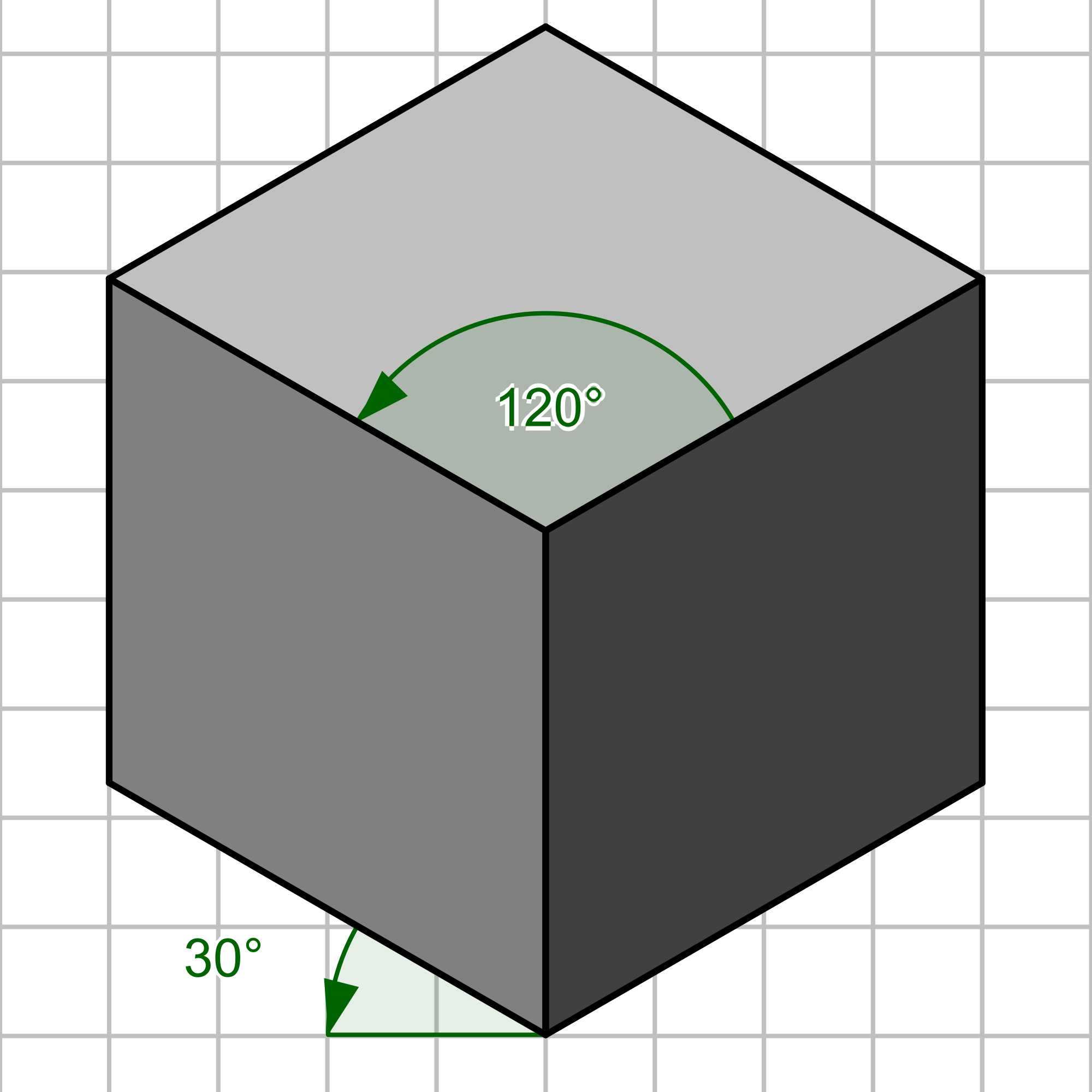 Shades drawing perspective. File isometrique cube gris