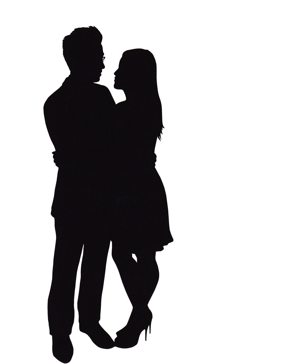 Shadow clipart couple. Silhouette of a kissing