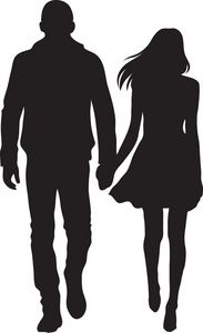 Shadow clipart couple. Man and woman silhouette