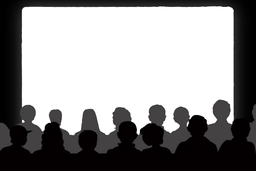Shadow clipart crowd. Cinema theater show audience