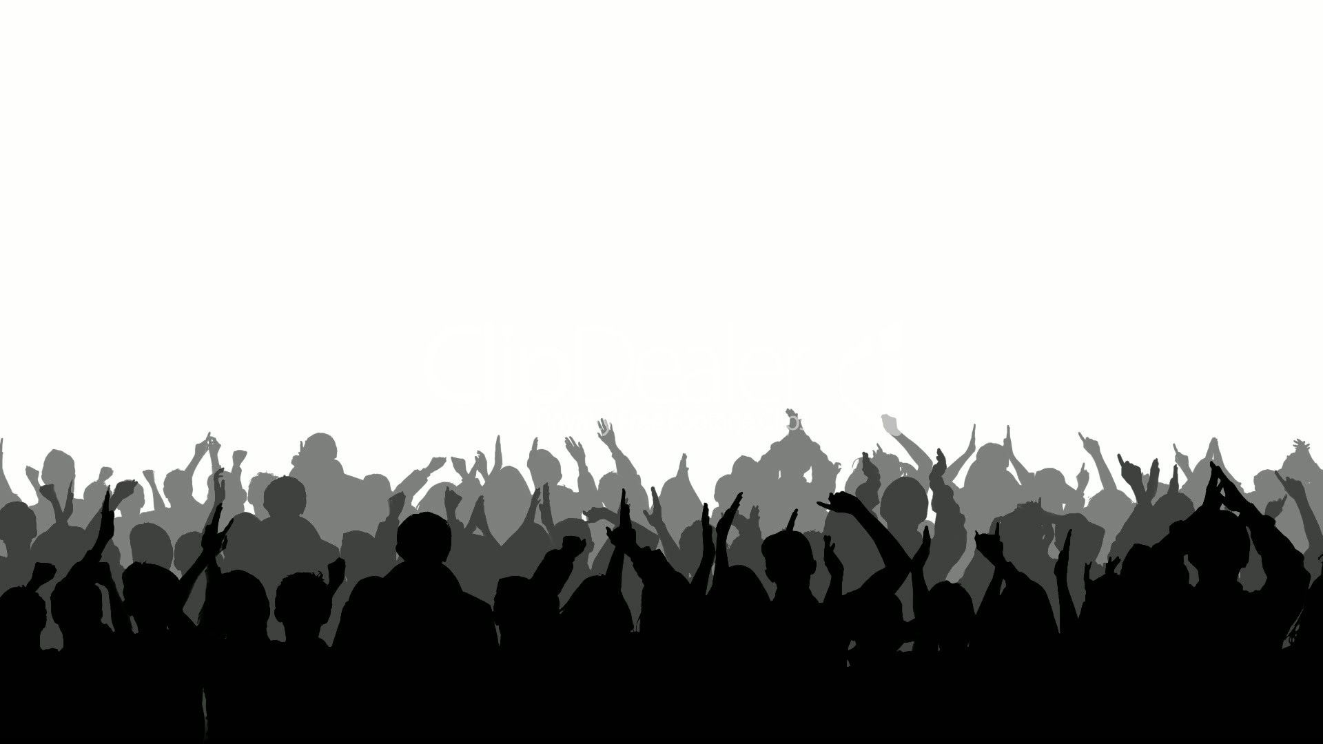 Shadow clipart crowd. Silhouettes cheering royalty free