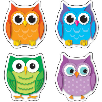 Shape clipart colorful. Owls stickers panda free