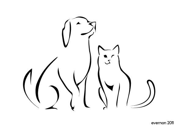 Shapes clipart dog. And cat silhouette at
