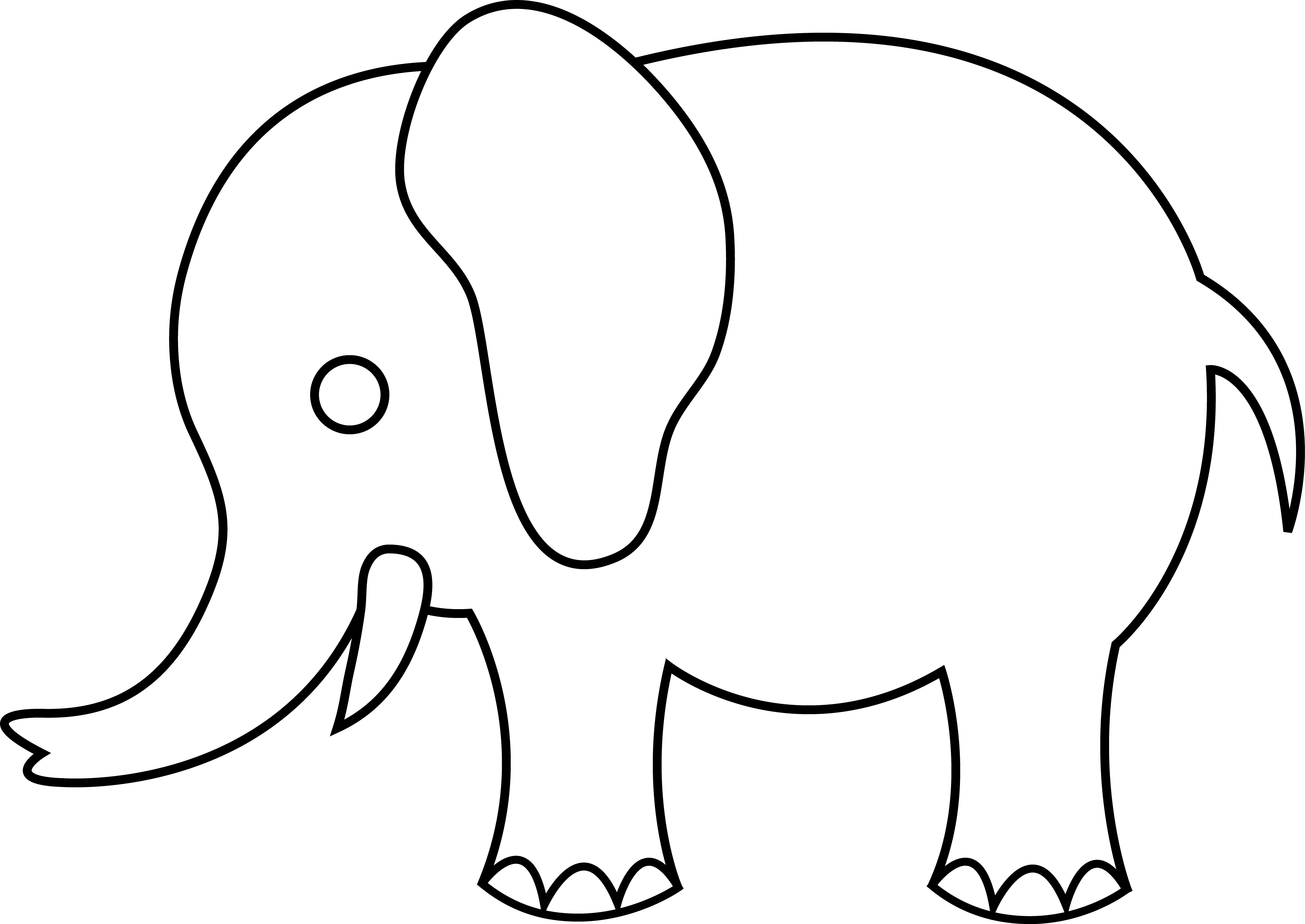 Drawing elephants face. Free elephant outline cliparts