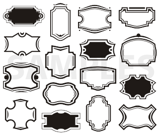 Shapes clipart sign. Vintage silhouette svg