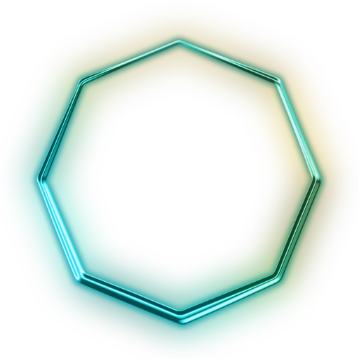 Octagon transparent green. Image glowing neon icon