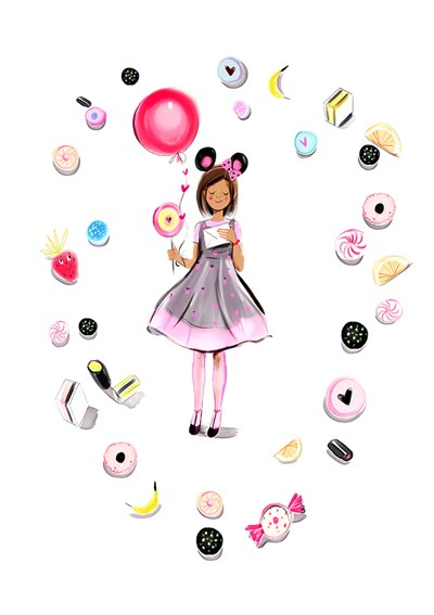 Share clipart candy girl. Cards birthday lucy truman