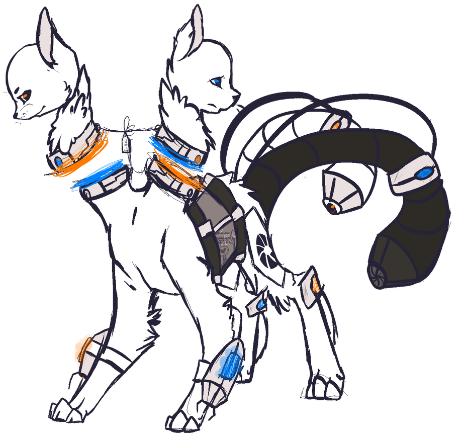 Shared drawing. Oc portal dogs by
