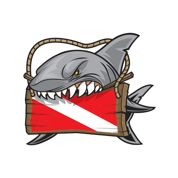 Shark mouth decal png. Printed vinyl scuba flag