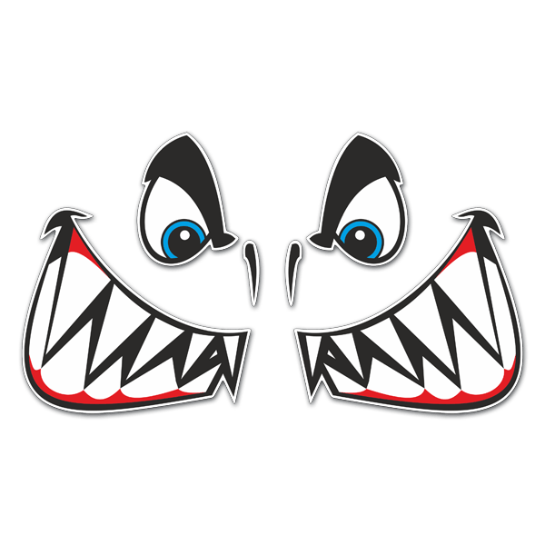Shark mouth decal png. Sticker kit and eyes