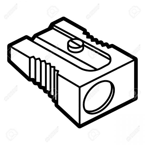 Sharpener clipart black and white. Letters throughout