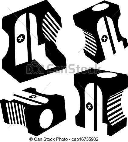 Vector silhouettes on background. Sharpener clipart black and white clip art transparent stock