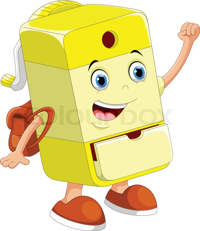 Vector illustration of cute. Sharpener clipart yellow png freeuse stock