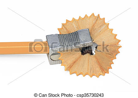 With pencil isolated on. Sharpener clipart yellow graphic black and white stock