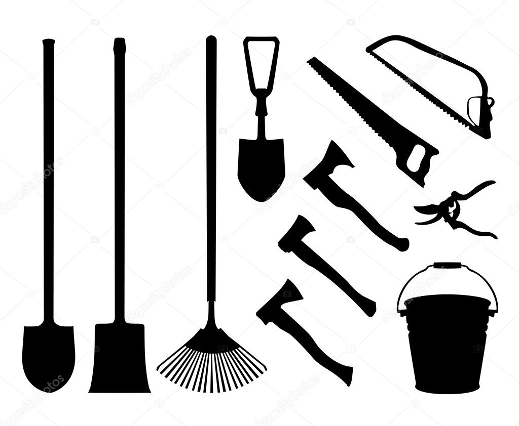 Shears clipart gardening rake. Set of implements contour