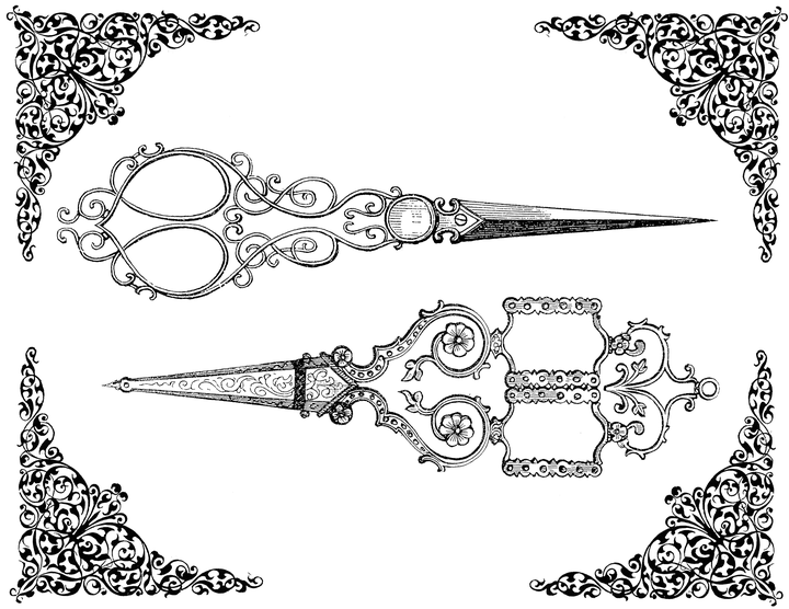 Shears drawing victorian. Free vintage clip art