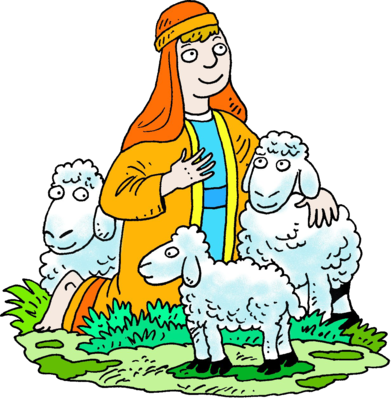 Sheep clipart three. Image kneeling shepherd white