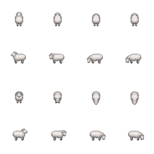 Sheep sprite png. Lpc style farm animals