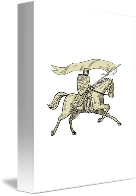 Western drawing horse riding. Knight shield lance flag