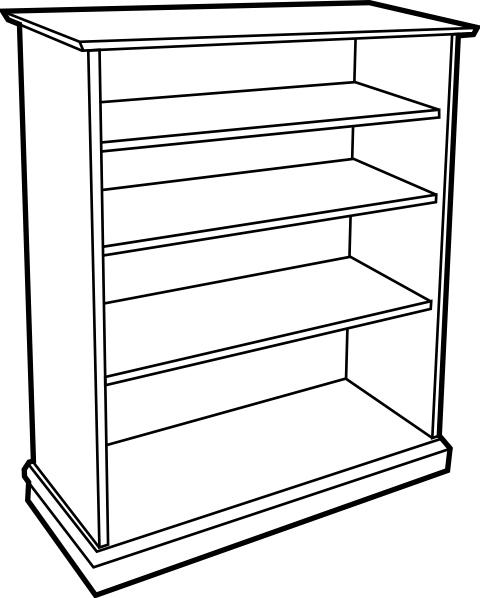 Shelf clipart wooden furniture. Bookshelf clip art at