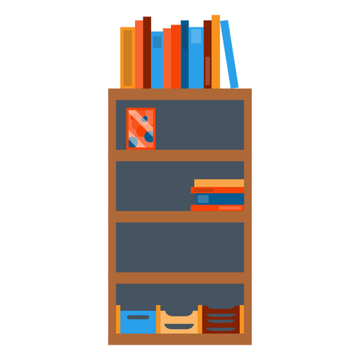 Shelf vector. Bookshelf with office papers