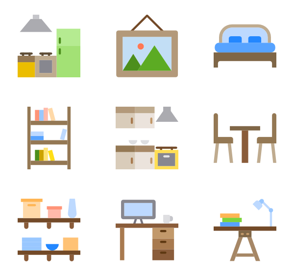 Shelf vector store. Icons free furniture and