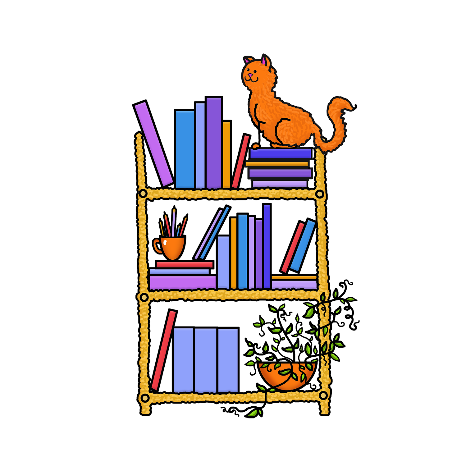 Shelf vector cartoon. Librarian free shelve