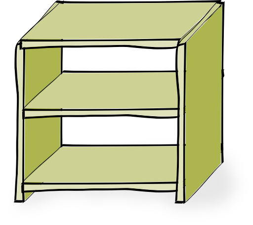 Shelf vector cartoon. Comic style shelves clipart