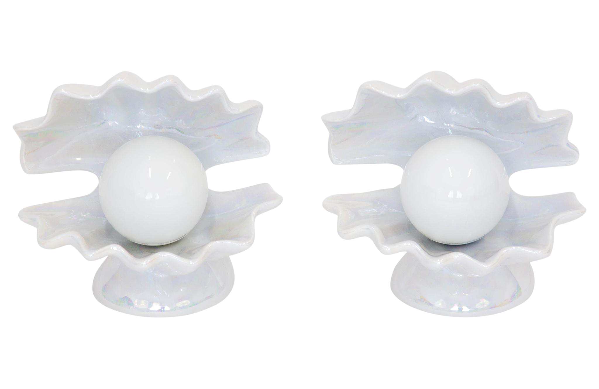 Shell transparent pearlescent. Lamps a pair chairish