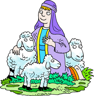 Shepherd clipart. Image kneeling in purple