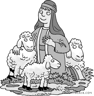 Shepherd clipart black and white. With sheep animal free