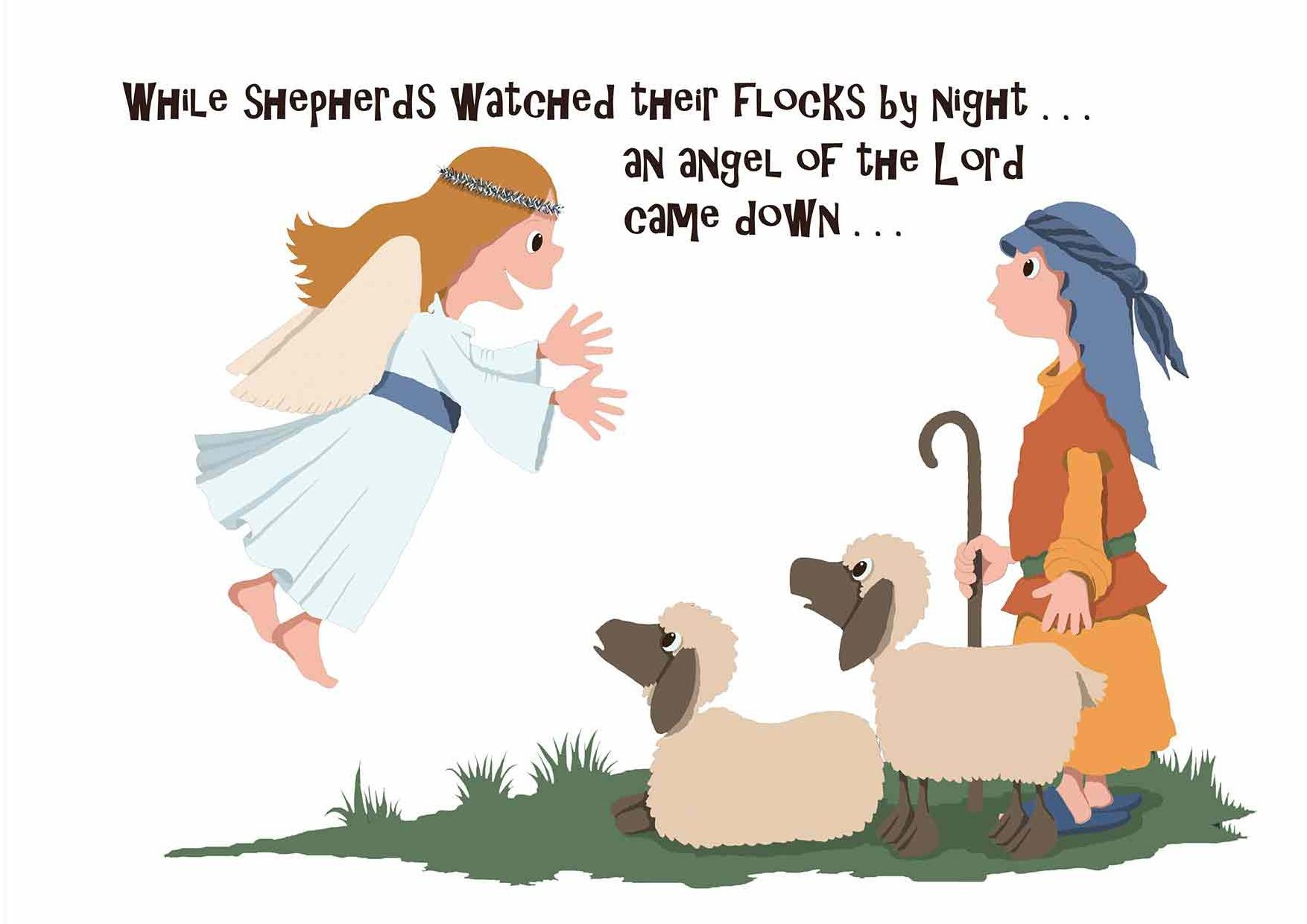 Shepherd clipart christmas. Card while shepherds watched
