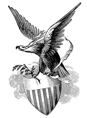 Shield clipart eagle. Vintage patriotic image with