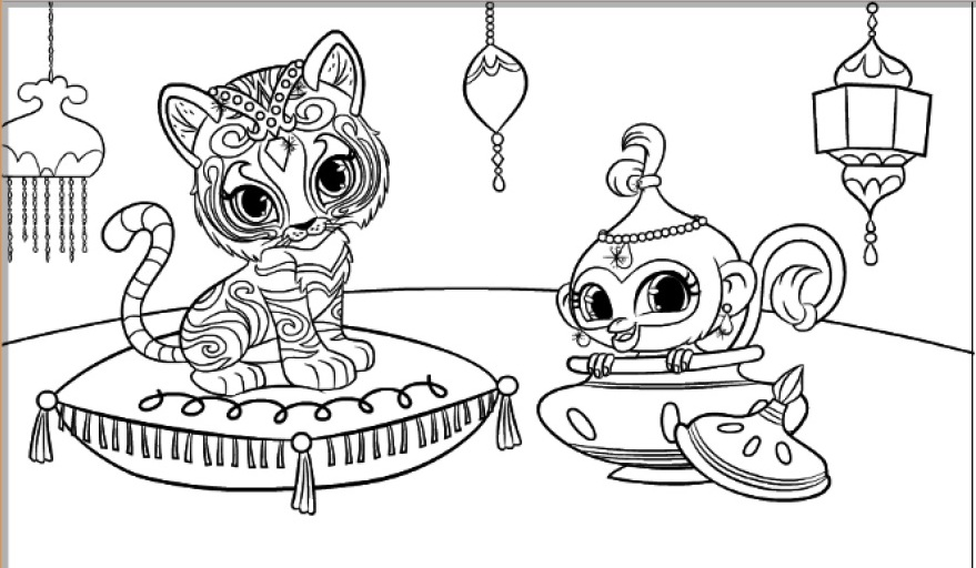 Shimmer and shine clipart nahal. Tiger monkey coloring pages
