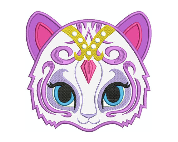Shimmer and shine clipart tala. Cat machine applique embroidery