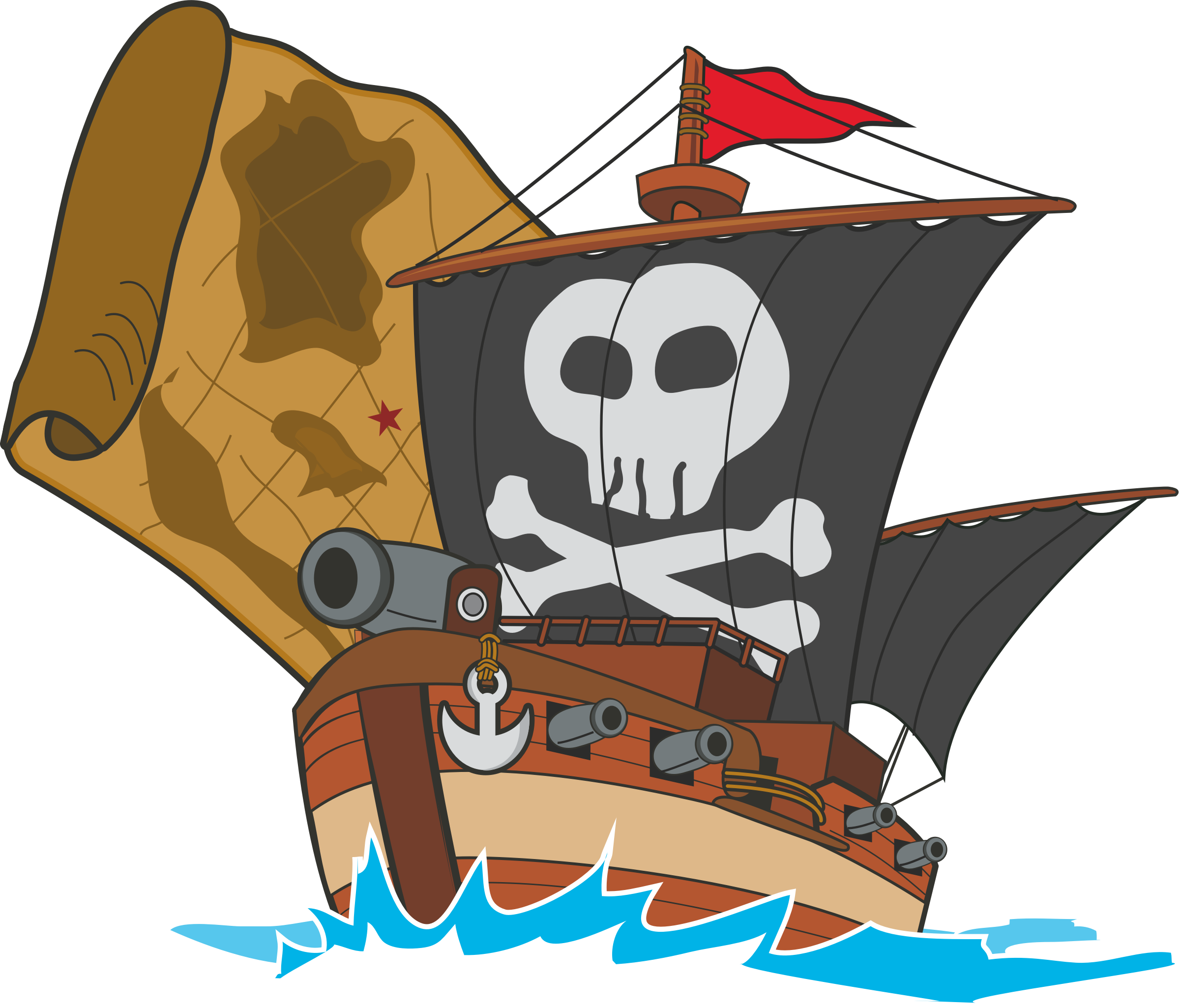 Pirate ship big image. Medieval clipart boat image download