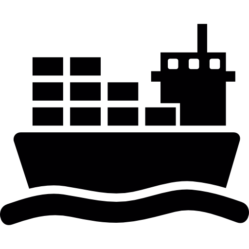 Ship icon png. With cargo on sea
