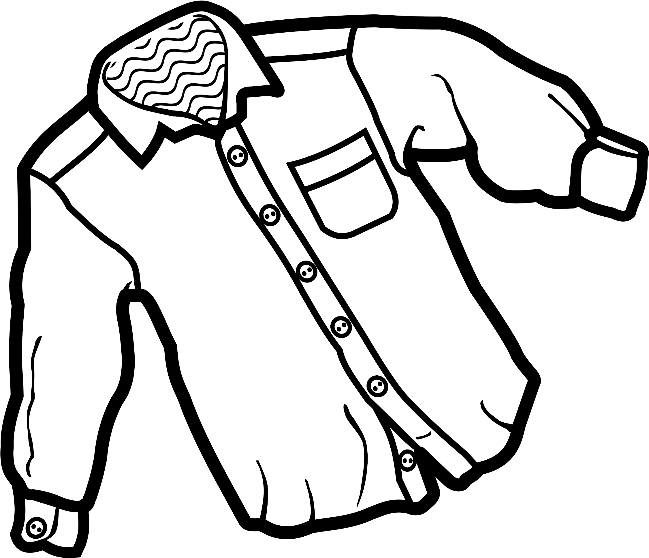 Download dress button up. Shirt clipart buttoned shirt image black and white download
