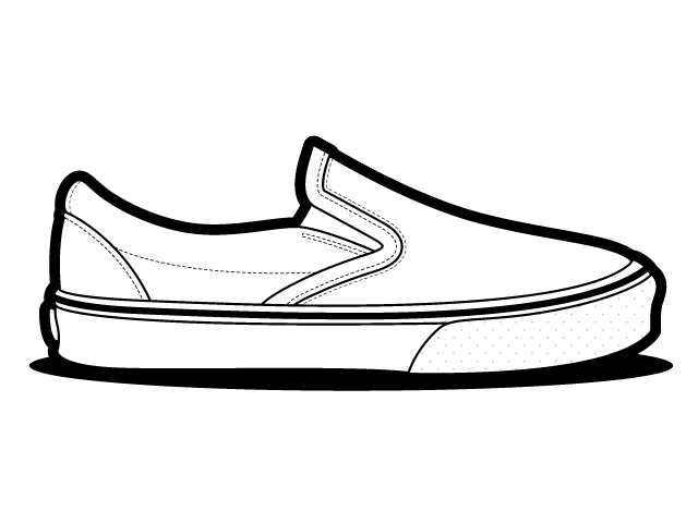 Vans slip on temlplate. Shades drawing shoe image freeuse download