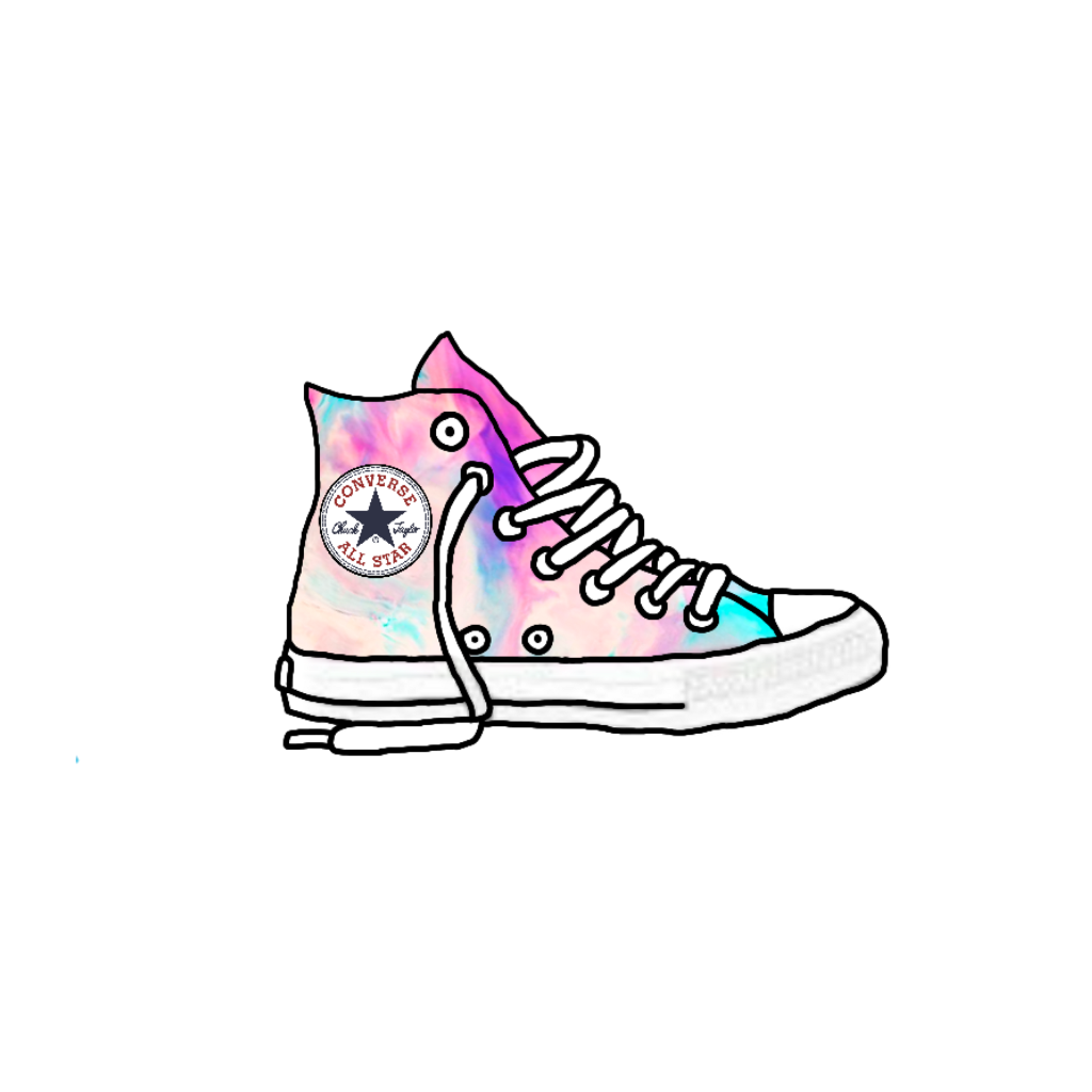 Converse transparent galaxy. Colorful shoes sticker png