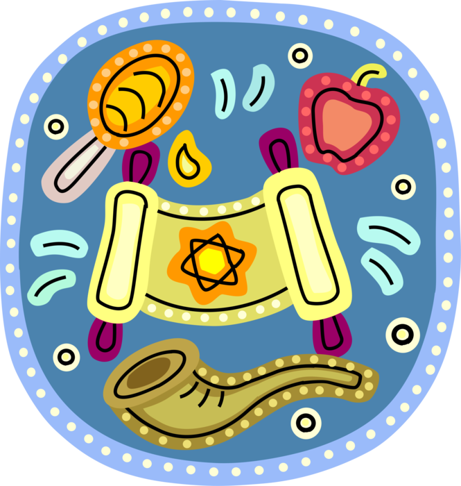 Shofar vector rosh hashanah. Feast with honey apples