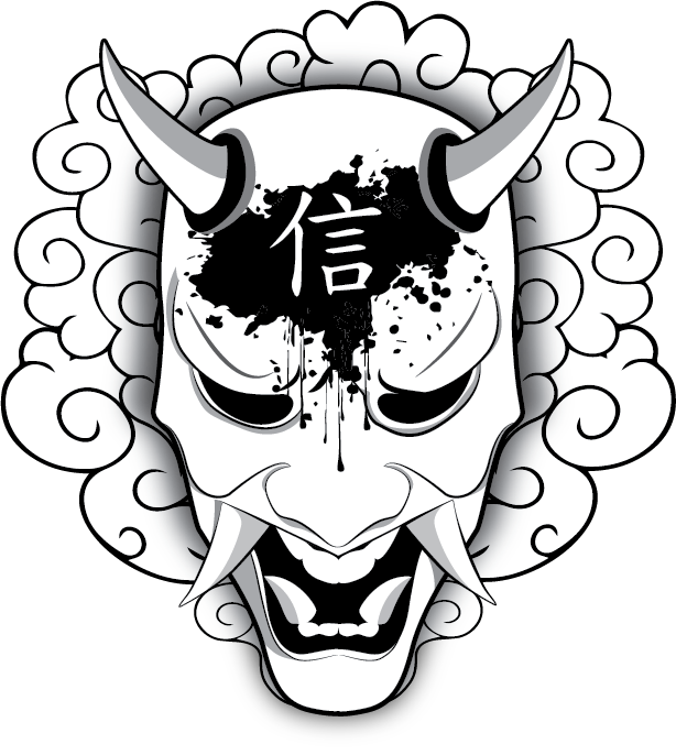 Shogun drawing logo. Stickers individuals lost faith