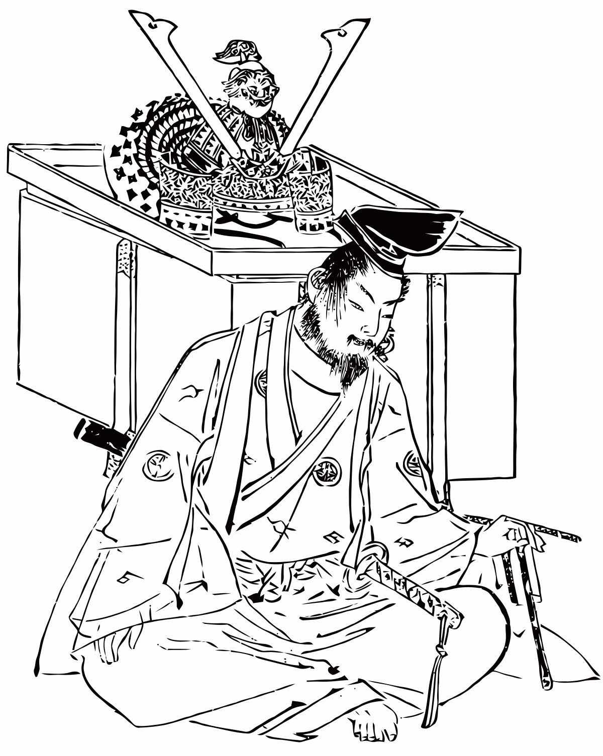 Drawing samurai temple. Minamoto no yoshitsune wikipedia