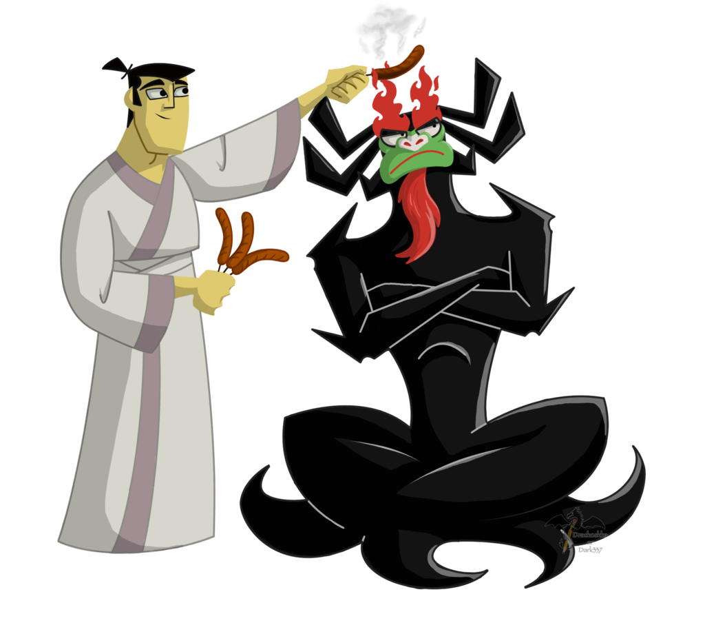 Shogun drawing samurai jack. Lanch by dark on