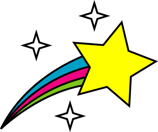 Star clipart. Shooting stars black and