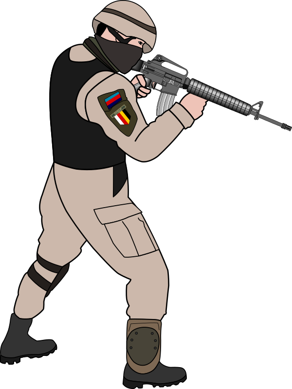 Shooting drawing army soldier. Image royalty free