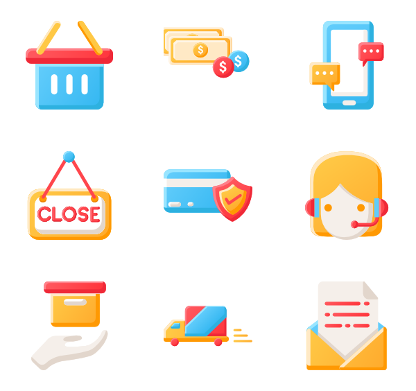 Icons free ecommerce. Shop vector download