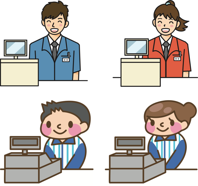 Store clipart green grocer. Cashier supermarket japan grocery